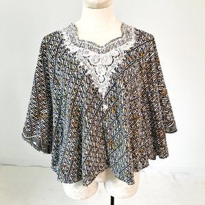 Vintage 70s OS African Print Poncho Cape Layer